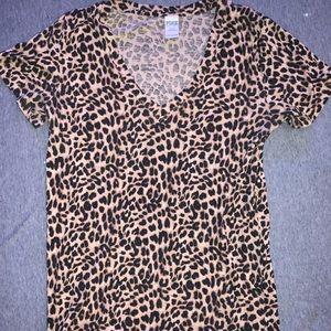PINK Leopard Print V-Neck